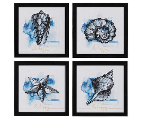 Zestaw 4 obrazów Sea Fossils 35x35 cm