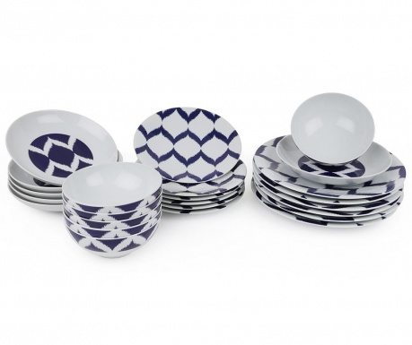 Set de masa 24 piese Oriental Circles Blue