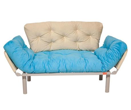 Sofa extensibila 2 locuri Ege Turquoise and Cream
