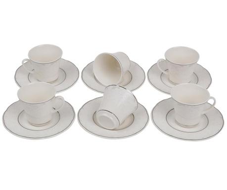 Set 6 cesti si 6 farfurioare Espresso Silver Butterflies