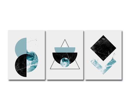 Set 3 tablouri Blue Shades