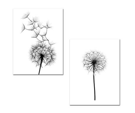 Set 2 tablouri Black Dandelions 30x40 cm