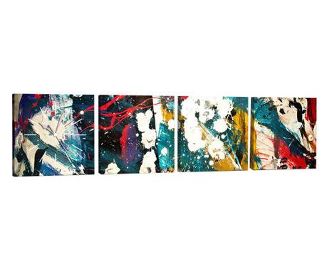 Set 4 tablouri cu ceas Splash 33x33 cm