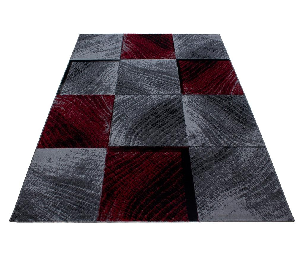 Plus Waved Squares Red Szőnyeg 80x150 cm