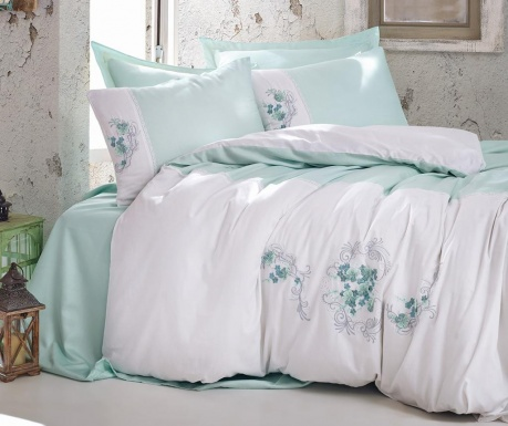 Posteljnina King Sateen Supreme Lena Mint