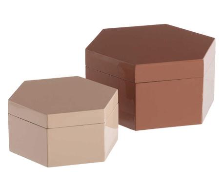Zestaw 2 pudełek z pokrywką Clear Glow Pink