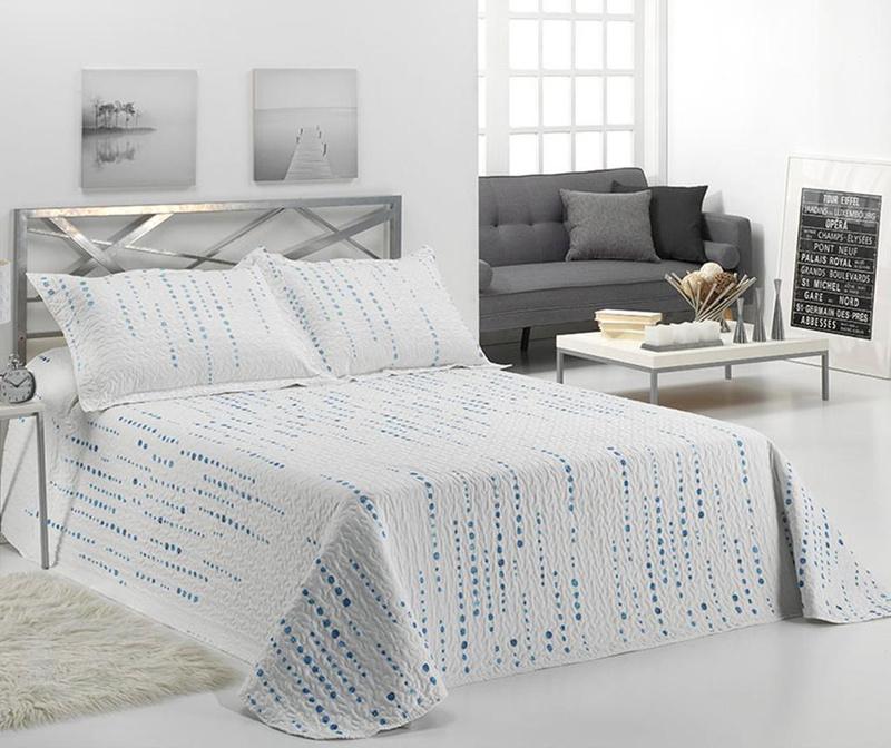 Set s prešitim posteljnim pregrinjalom King Irati Blue