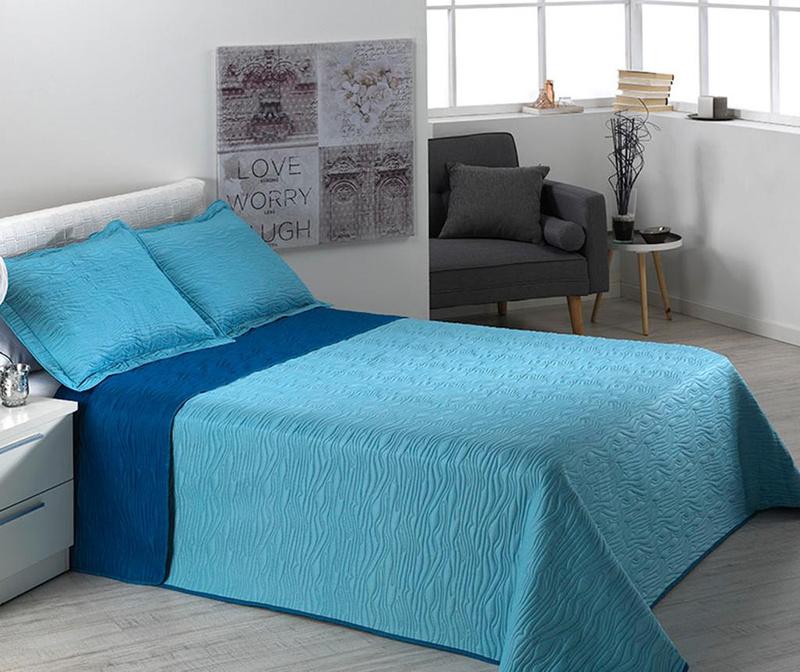 Set cuvertura matlasata King Extra Alma Waves Blue