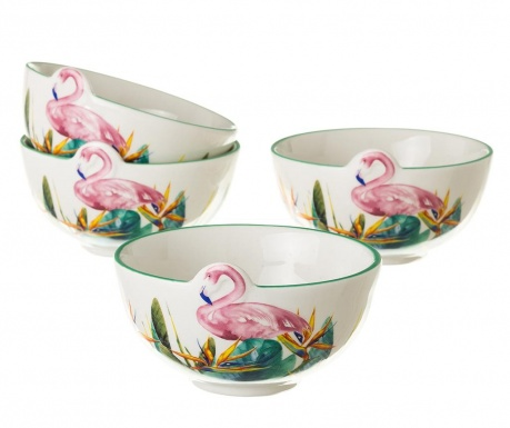 Set 4 skled Flamingo 340 ml