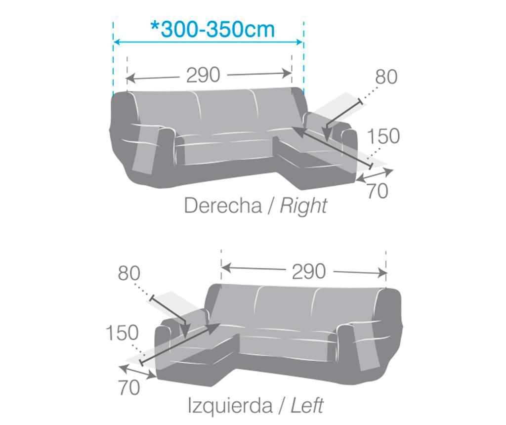 Prešita prevleka za levo kotno sedežno garnituro Oslo Dark Grey 290 cm