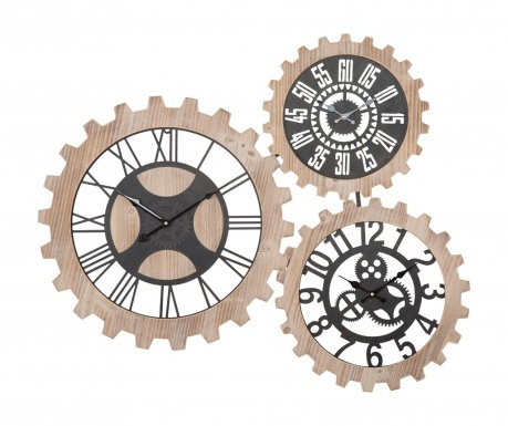 Nástenná dekorácia s 3 hodinami Gears