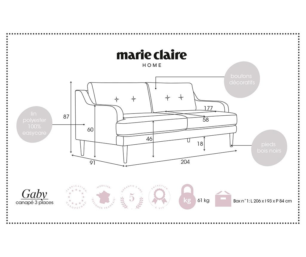 Gaby Brown Háromszemélyes kanapé