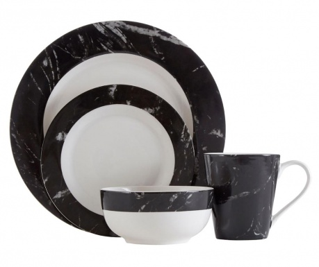 Marble Black 16 darabos Étkészlet