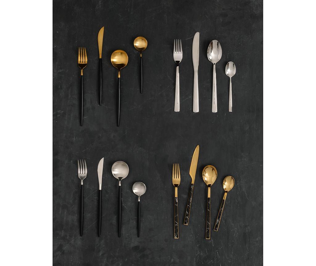 Avie Matte Black & Silver 16 darabos Evőeszköz készlet