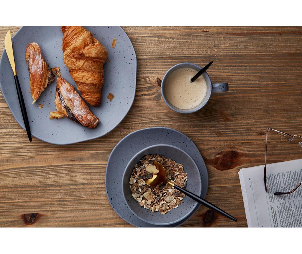 16-dijelni  pribor za jelo Avvie Matte Black & Gold