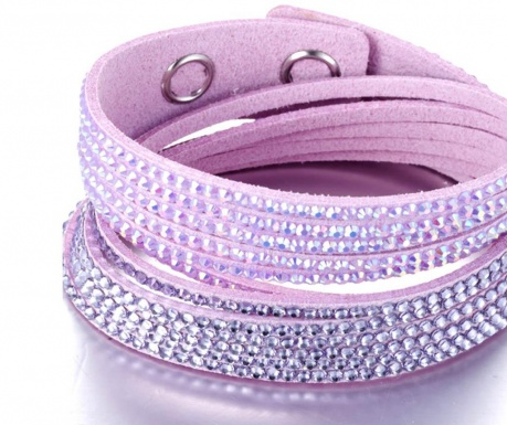 Bratara Swarovski Rows Three Purple