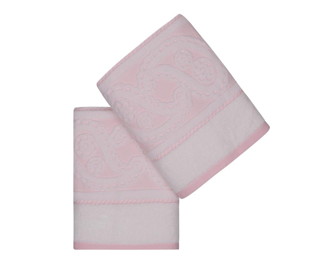 Set 2 prosoape de baie Jacquard Hurrem Light Pink 50x90 cm
