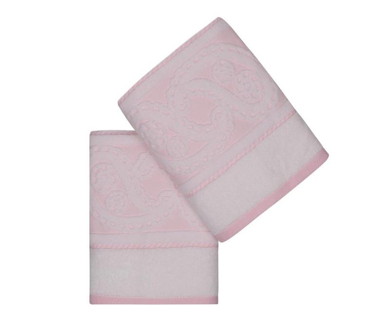 Set 2 prosoape de baie Jacquard Hurrem Light Pink 50x90 cm