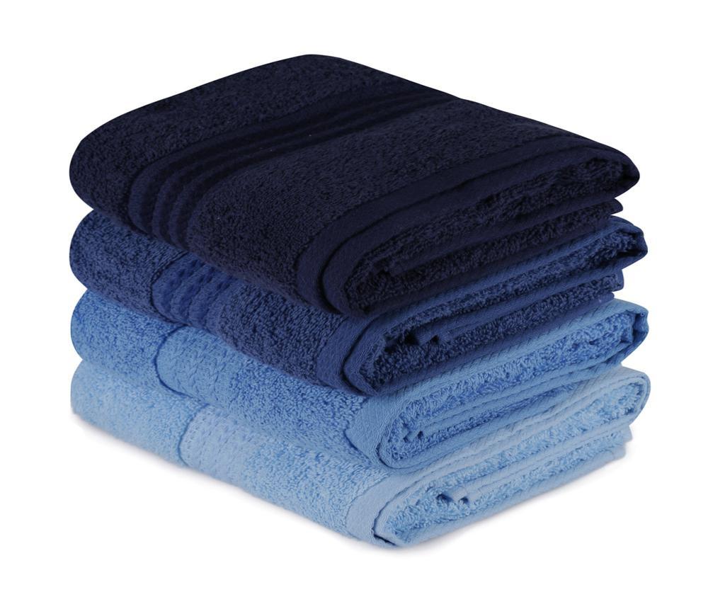 Set 4 kupaonska ručnika Shades Blue 50x90 cm