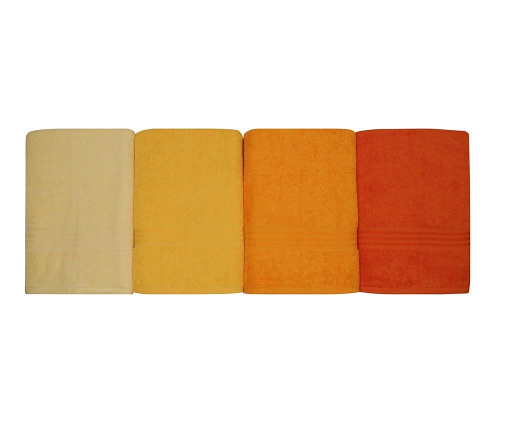 Set 4 prosoape de baie Rainbow Yellow 70x140 cm