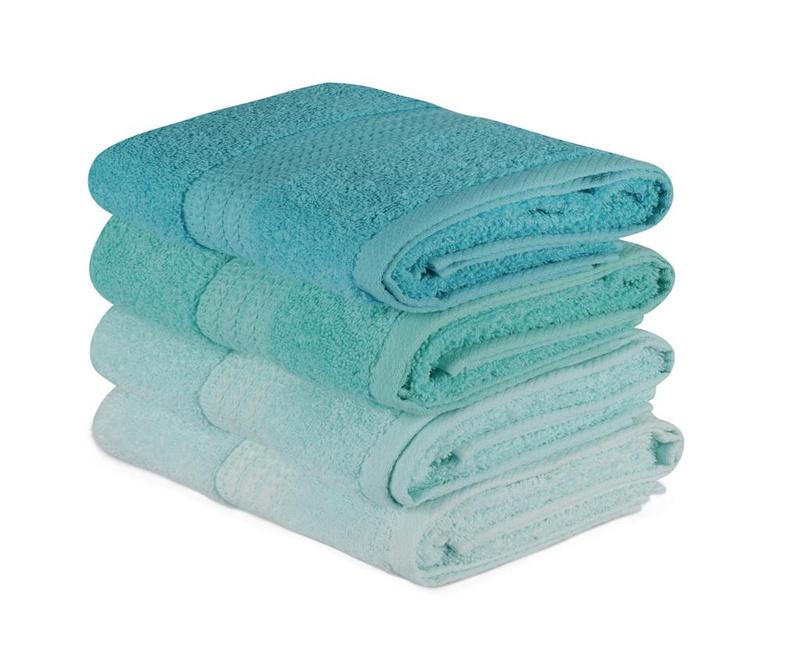Set 4 kupaonska ručnika Rainbow Water Green 50x90 cm