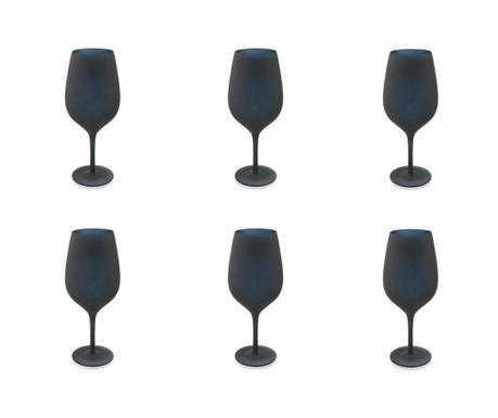 Sada 6 sklenic na stopce Naima Black 428 ml