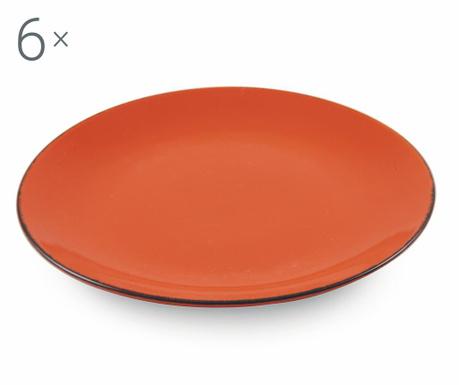 Sada 6 mělkých talířů Baita Orange
