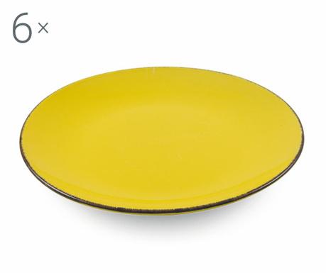 Sada 6 plytkých tanierov Baita Yellow
