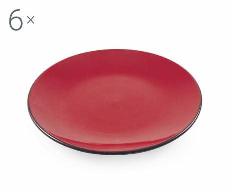Sada 6 talířů na dezert Baita Red