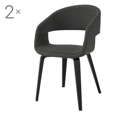 Sada 2 stoličiek Nova Style Dark Grey