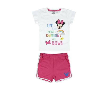 Otroški komplet - kratke hlače in majica s kratkimi rokavi Minnie Rainbow & Bows 4 let