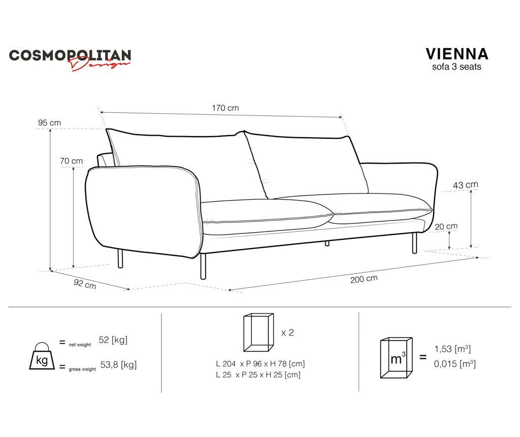 Canapea 3 locuri Vienna Light Blue