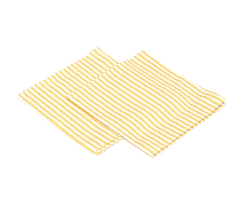 Set 2 stolnih ubrusa American Stripes Yellow 40x40 cm