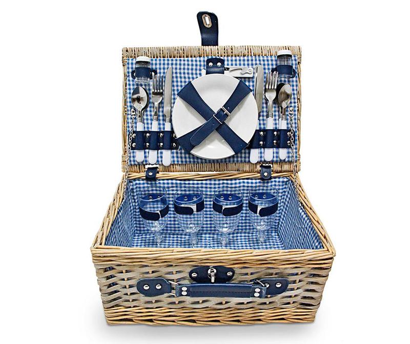 Piknik košara opremljena za 4 osebe Manly Blue