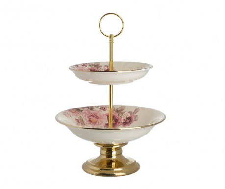 Servirni krožnik na dveh nivojih Pink Flowers