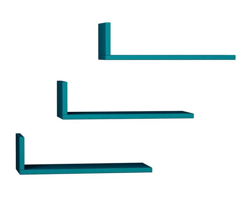 Set 3 stenskih polic Model Turquoise