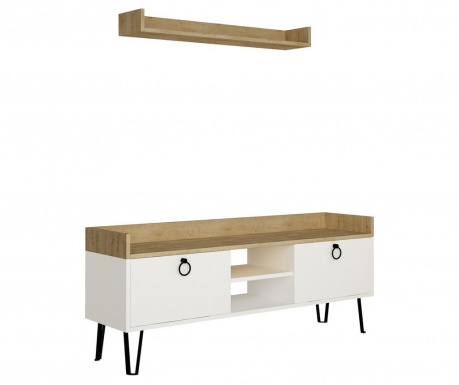 Set TV komoda i zidna polica Keday White and Oak