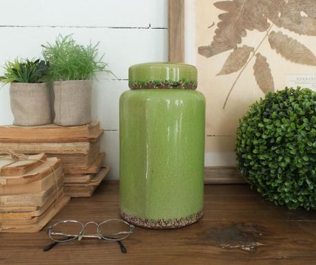 Vas decorativ cu capac Green Antique Cilinder 26 Cm