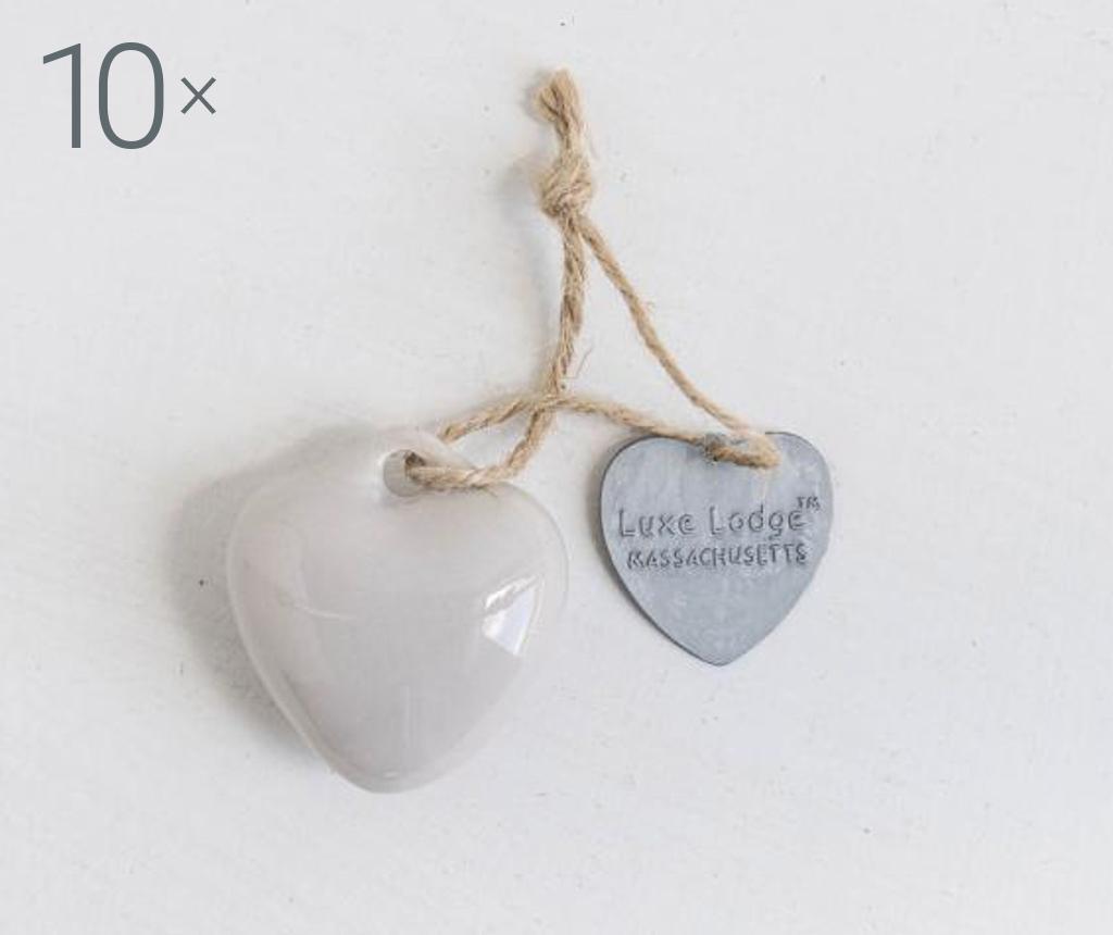 Set 10 decoratiuni suspendabile Heart Light Grey