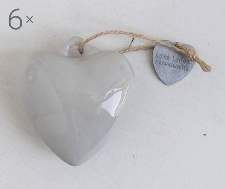 Set 6 decoratiuni suspendabile Heart Grey