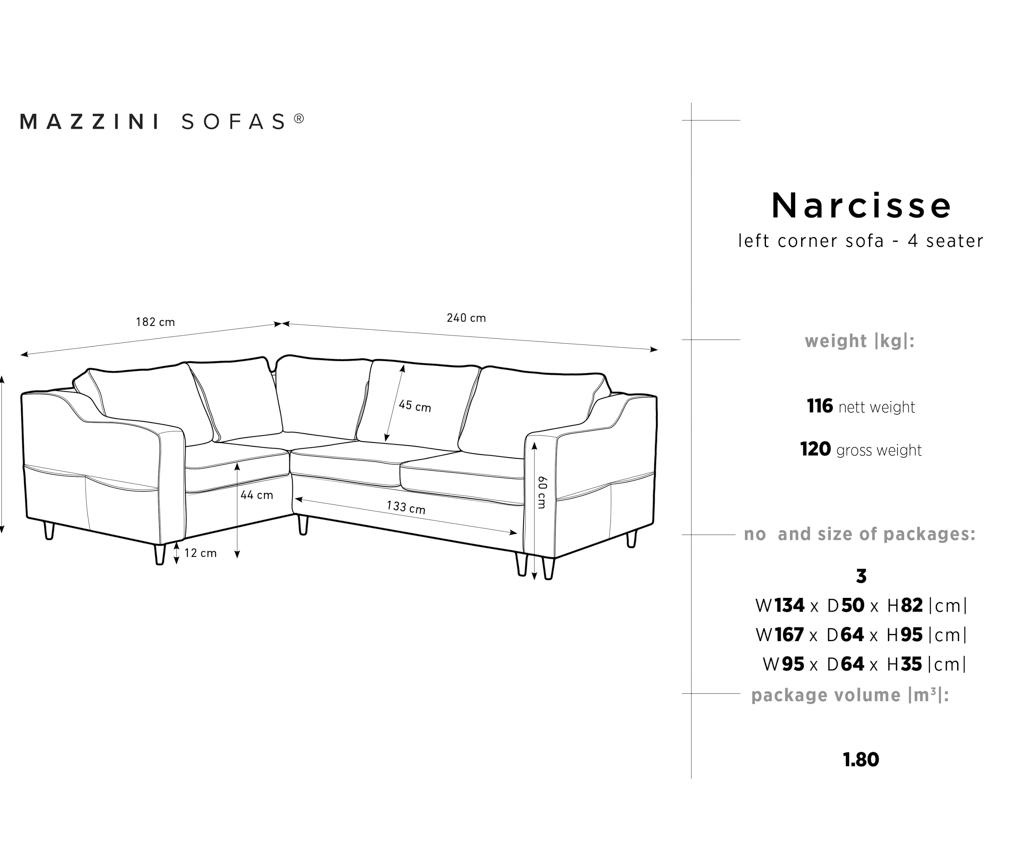 Narcisse Grey Baloldali  kihúzható sarokkanapé
