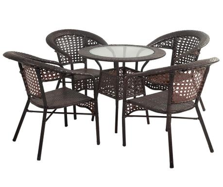 Set stol i 4 stolice za vanjski prostor Elice
