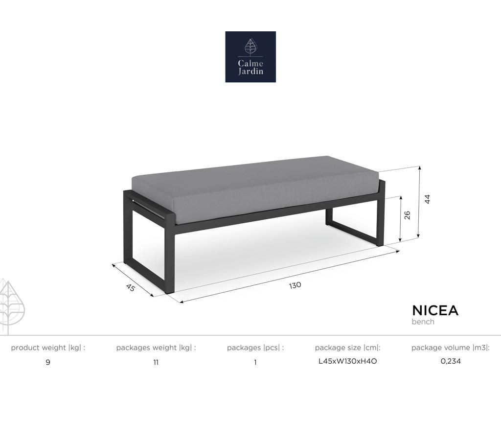 Klupa za vanjski prostor Nicea Graphite White