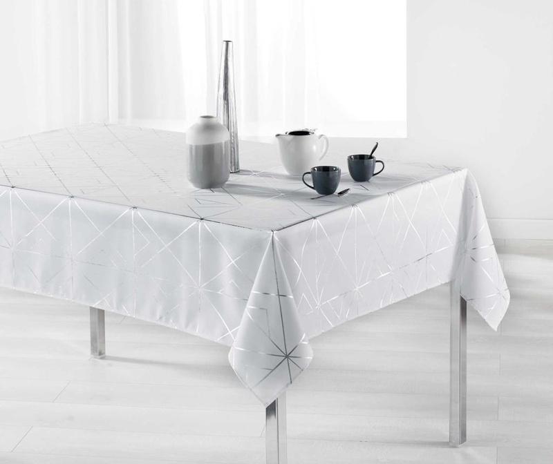 Stolnjak Quadris White and Silver 150x300 cm