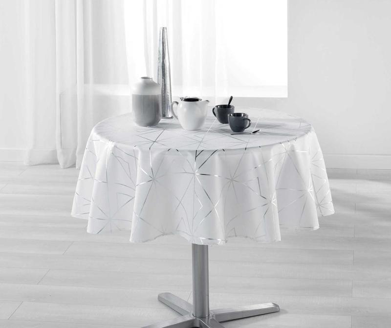 Fata de masa Quadris Round White and Silver 180 cm