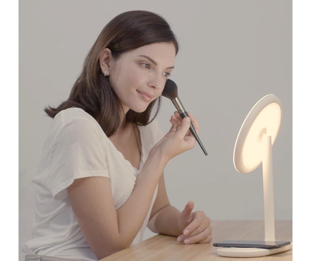 Incarcator wireless pentru telefon cu lampa LED si oglinda Minimal Pink