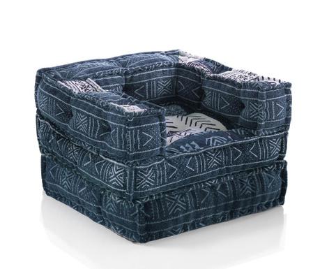 Комплект възглавница за под и пуф Picas Blue
