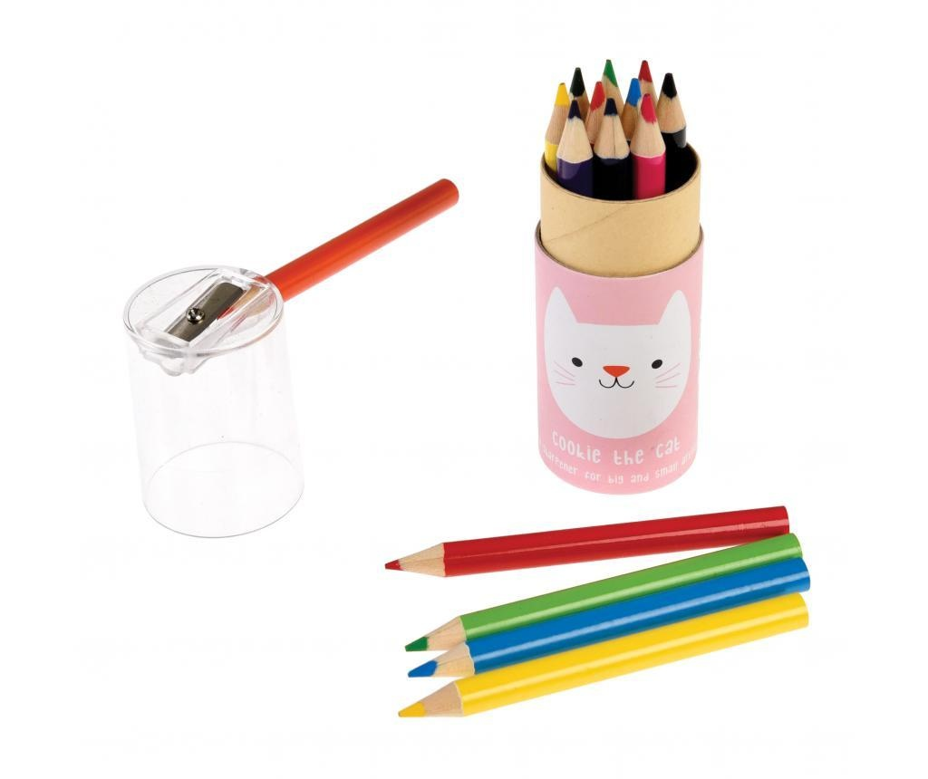 Set 12 creioane colorate Cookie the Cat