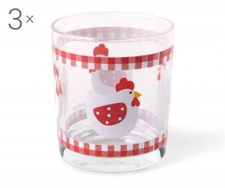 Sada 3 pohárov na vodu Chicken