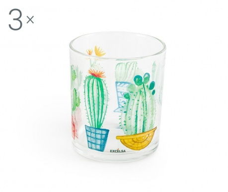 Set 3 pahare Cactus 250 ml